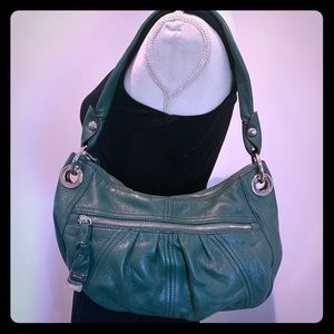 B Makowsky Green leather shoulder bag
